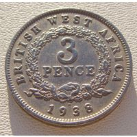 Британская Западная Африка. 3 пенса 1938 год  KM#21