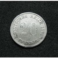 Германия 20 пфеннигов 1874 В серебро