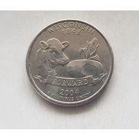 25 центов США 2004 г. штат Висконсин P