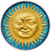 """RARE Ниуэ 5 доллара 2017г. """"Небесные тела: Солнце"""". Монета в капсуле; деревянном подарочном футляре; номер монеты на гурте; сертификат; коробка. СЕРЕБРО 62,20гр.(2 oz)."""