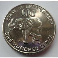 """Эритрея 100 центов 1997 """"Слон со слонёнком, солдаты, водружающие флаг независимости 24 мая 1991 (от Эфиопии)"""""""