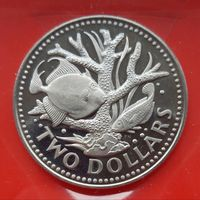 Барбадос 2 доллара 1979г. Пруф.Редкий год.
