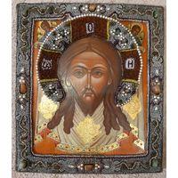 """Икона """"Господь Вседержитель"""" Оклад бисер с натуральными камнями Размер 28,5 х 32,5 см"""