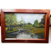 Картина Вильнус Старая В деревянной раме под стеклом Масло 57х40 см