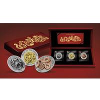 """Руанда 1500 франков 2013г. 3D набор: """"Год Змеи"""". Монеты в мешочках и капсуле; шикарном деревянном подарочном футляре; сертификат; коробка. СЕРЕБРО 3х31,10гр.(3 oz)."""