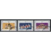 Гренада и Гренадины /1977/ Серебряный Юбилей Королевы / Michel #GD-GR 217A-219A / Серия 3 Марки / Гашение первого дня