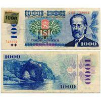 Чехия. 1000 крон на 1000 крон (образца 1993 года, P3a, с маркой)