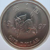 Гонконг 1 доллар 1997 г. Возврат Гонконга под юрисдикцию Китая. В холдере (g)