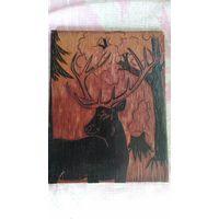 Картина на дереве Олень, панно ссср