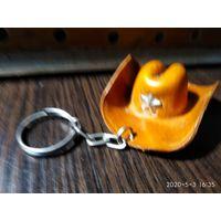 """Брелок для ключей""""Шляпа Шерифа""""натуральная кожа."""
