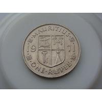 """Маврикий.""""Британская колония"""" 1 рупия 1971 год КМ#35  """"Правитель - Елизавета II"""""""
