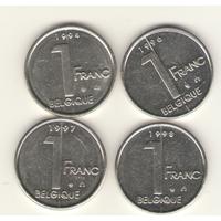 1 франк 1994, 1996, 1997, 1998 г. Q.