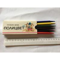 Карандаши СССР Полицвет карандашная фабрика Красина восковые мелки 6 шт 1984г