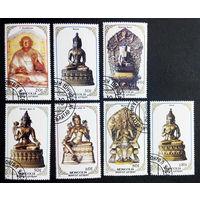 Монголия 1988 г. Будда. Религия. Скульптура. Искусство. Культура, полная серия из 7 марок #0016-И1P3