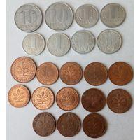 21 монета Германии (ГДР и ФРГ), без повторений, список в описании