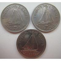 Багамские острова (Багамы) 25 центов 1991, 1998, 2000 гг. Цена за 1 шт. (g)