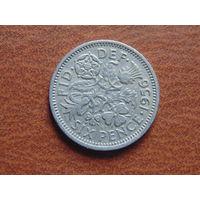 Великобритания 6 пенсов 1956 г.