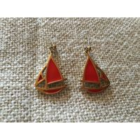 Серьги Кораблики красная эмаль