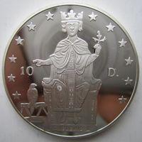 Андорра. 10 динеров (экю) 1996. Серебро. Пруф. 214