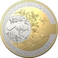 """RARE Австралия 10 долларов 2018г. """"25 лет Кенгуру"""". Gold plated. Монета в капсуле; шикарном деревянном подарочном футляре; номерной сертификат; коробка. СЕРЕБРО 155,50гр.(5 oz)."""
