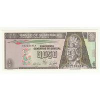 Гватемала 0,5 кетцелей 1989 года. Состояние UNC!