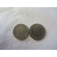 Германия сборка монет 5 (10 пфенигов 1893 и 1915 г.г.)