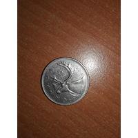 """Канада - """"олень"""". 25 центов. 1974 г."""