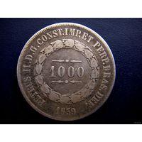 Бразилия старые 1000 рейсов (империя) 1859 г./ Silver/ патина.