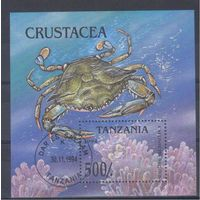 [558] Танзания 1994. Морская фауна.Краб. Гашеный блок.