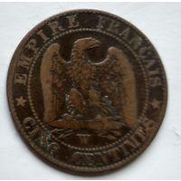 Франция 5 сантимов, 1855 W - Лилль 2-6-8