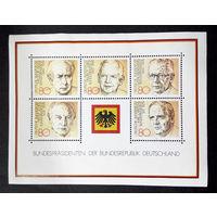 Германия 1982 г. Президенты ФРГ. Известные люди, полная серия, Блок. Чистые #0082-Ч1P10