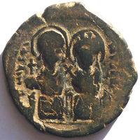 ВИЗАНТИЯ. ЮСТИН II И СОФИЯ (565-578 г.) 569 г. 1/2 ФОЛЛИСА.