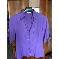 МОДА 90-х блуза 48 цвет сиреневый бледнее, чем на фото