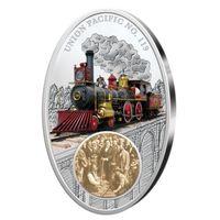 Фиджи 10 долларов 2013 Паровоз Union Pacific No.119 Серебро.Редкая.