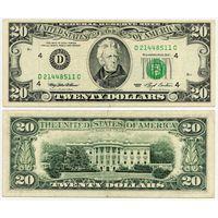 США. 20 долларов (образца 1993 года, D, Огайо, P493)
