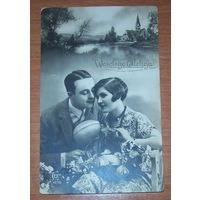 Старая пасхальная фото-открытка 1930 год.