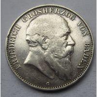 Германия, Баден, 5 марок, 1904, серебро