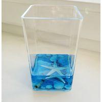 Стакан для зубных щеток синий с ракушками