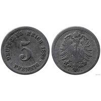 YS: Германия, Рейх, 5 пфеннигов 1889G, KM# 3, РЕДКОСТЬ! Малая 9 в годе