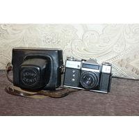 Фотоаппарат Зенит-Е, с Олимпийской символикой и объективом Индустар-50-2.