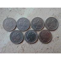 1 крона 1974 1975 1976 1977 1978 1979 1984 Дания 7 монет.