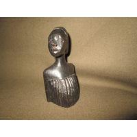 С 1 рубля!Африканская антикварная статуэтка эбеновое(чёрное) дерево высота 13 см