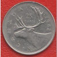 Канада 25 центов 1982 г