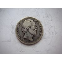 Нидерланды  1/2 гульдена  1864 г. серебро/ нечастая
