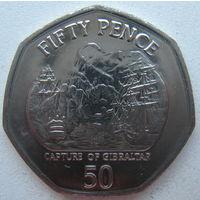 Гибралтар 50 пенсов 2005 г. 300 лет захвату Гибралтара