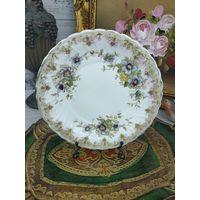 Коллекционная тарелка Фарфор Золочение с Цветами Роспись