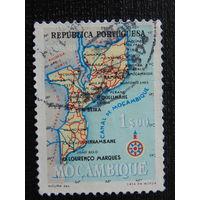 Португальская колония Мозамбик. Карта.