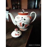 Фарфоровый заварочный чайник рисунок СССР ЛФЗ.