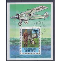 [64] Верхняя Вольта 1977. Авиация.Самолеты. Гашеный блок.