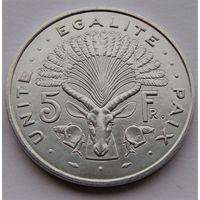 Джибути. 5 франков 1991 год  КМ#22    Тираж: 2.848.850